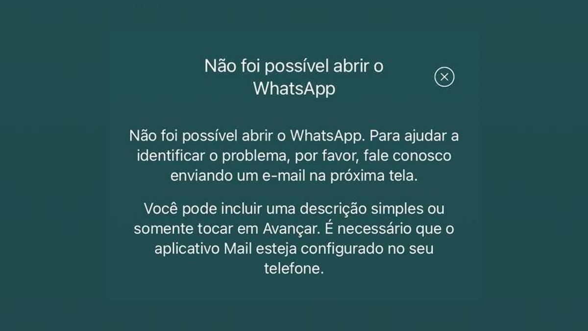 Não foi possível abrir o WhatsApp iphone